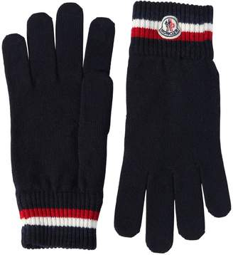 Moncler Striped Wool Knit Gloves