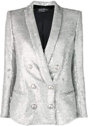 Balmain double breasted sequinned blazer