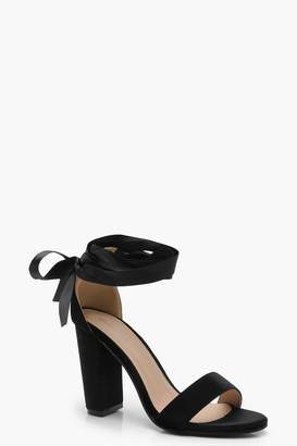 boohoo Block Heel Ribbon Up Heels