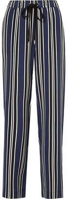 Markus Lupfer Agnes Striped Silk Wide-leg Pants - Navy