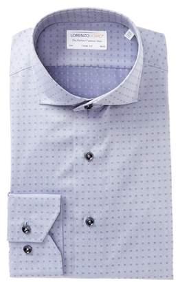 Lorenzo Uomo Square Textured Trim Fit Dress Shirt