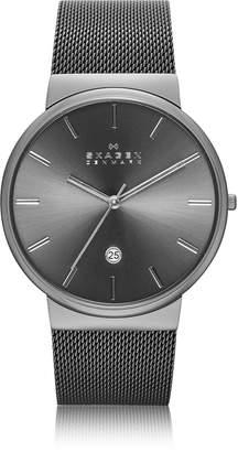 Skagen Ancher Black Stainless Steel Case Men's Watch w/Mesh Strap