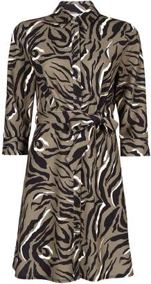 f585c6be9746 Dorothy Perkins Womens Petite Khaki Animal Print Shirt Dress