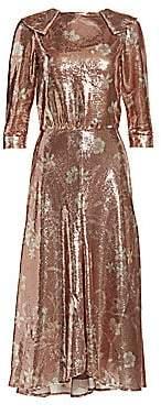 Johanna Ortiz Women's Metallic Floral Midi Dress