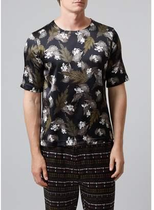 MENG Men S Black & Khaki Print Stretchy Silk Satin T