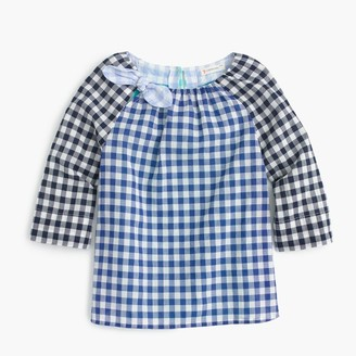 Girls' bow-neck top in gingham mash-up $55 thestylecure.com