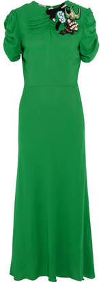 Miu Miu - Embellished Crepe Midi Dress - Green