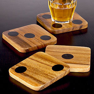 Wood Dice Coasters, Set of 4