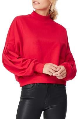 Habitual Mock Neck Crop Cotton Blend Sweatshirt