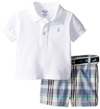 Ralph Lauren Polo, Belt Madras Shorts Set Boy's Active Sets