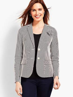 Talbots Stripe Blazer with Corsage