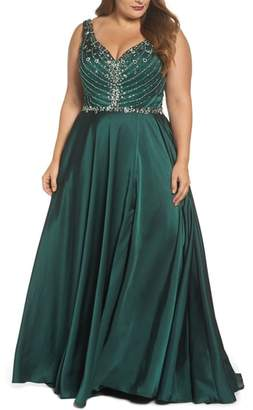Mac Duggal Beaded Bodice Gown
