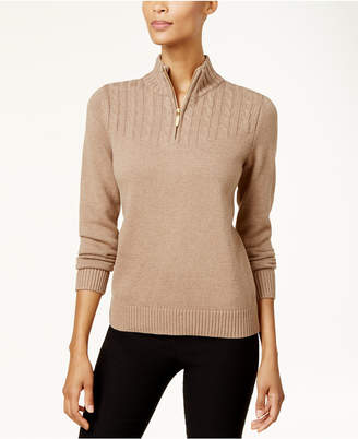 Karen Scott Cotton Zip-Up Sweater