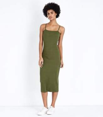 New Look Khaki Ribbed Strappy Midi Dress