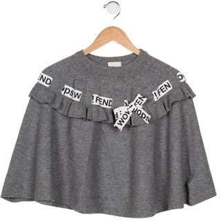 Fendi Girls' Wool-Blend Knit Poncho