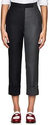 Thom Browne Women's Two-Tone Wool Cuffed Trousers - Dark Gray