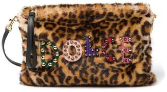 Dolce & Gabbana Leopart Print Faux Fur Shoulder Bag
