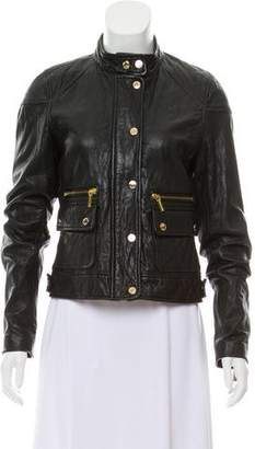 MICHAEL Michael Kors Band-Collar Leather Jacket