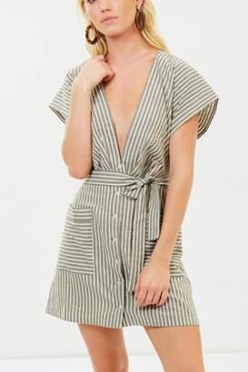 Bec & Bridge Khaki Striped Plunge Dress