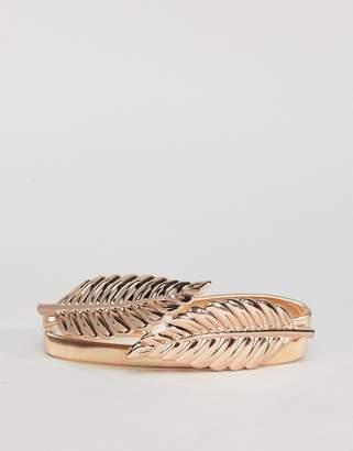 Asos DESIGN Leaf Chain Belt In Gold