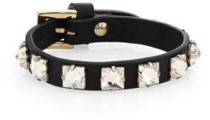 Valentino Leather Crystal Studded Bracelet