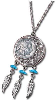 Buffalo David Bitton American Coin Treasures Nickel Dream Catcher Pendant