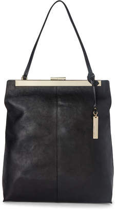 Vince Camuto Black Leather Leia Top Handle Tote