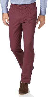 Charles Tyrwhitt Dark Pink Slim Fit Flat Front Washed Cotton Chino Pants Size W30 L29