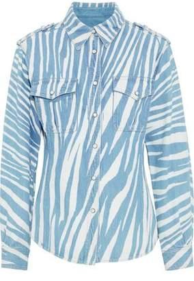 Roberto Cavalli Zebra-Print Denim Jacket