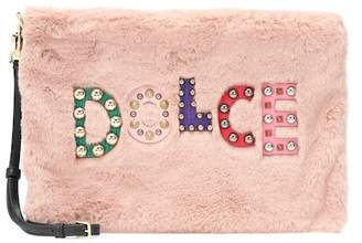 Dolce & Gabbana Embellished faux-fur clutch