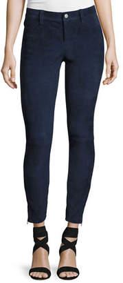 J Brand Suede Super-Skinny Pants, Dark Blue