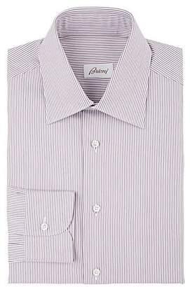 Brioni Men's Striped Cotton Poplin Dress Shirt - Wine