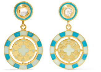 Amrapali - 18-karat Gold, Diamond And Enamel Earrings - one size $1,215 thestylecure.com