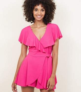 fe2f09d4c124 New Look Bright Pink Frill Wrap Front Playsuit