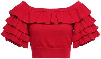 Marissa Webb Anton Cropped Tiered Stretch-knit Top