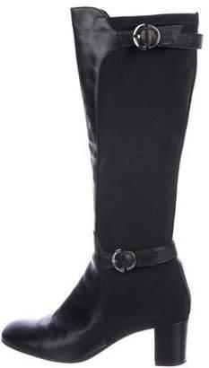 Aquatalia Leather and Nylon Over-The-Knee Boots