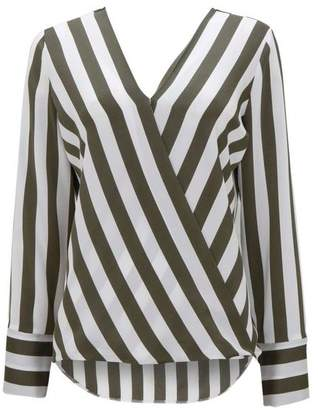 Wallis Khaki Striped Wrap Top