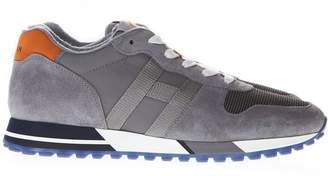 Hogan Gray Sneaker H383 In Leather And Suede