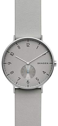 Skagen Aaren Leather Strap Watch, 40mm