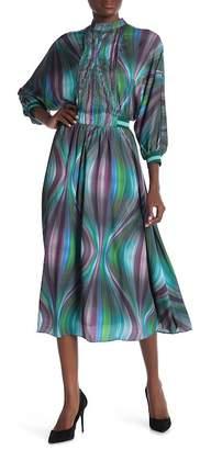 CQ by CQ Front Pintuck Detail Stripe Elastic Band Waist Print Flare Dress