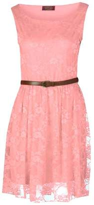 Forever Womens Sleeveless Floral Lace Belted Skater Dress