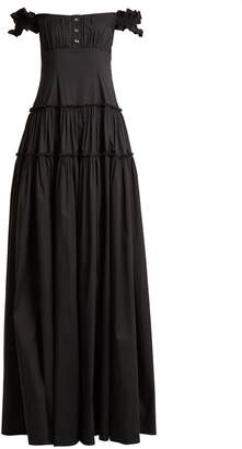Caroline Constas Maria off-the-shoulder cotton maxi dress