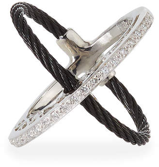 Alor Crisscross Diamond Cable Ring Size 7
