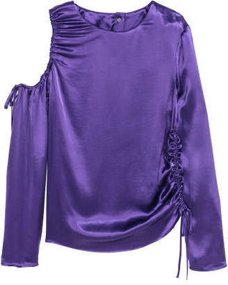H&M Satin Top with Drawstrings - Purple