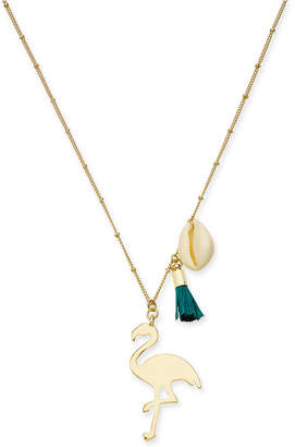 """INC International Concepts I.n.c. Gold-Tone Flamingo Pendant Necklace, 30"""" + 3"""" extender, Created for Macy's"""