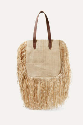 Nannacay Net Sustain Aurora Leather-trimmed Fringed Woven Raffia Tote - Sand