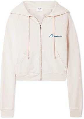 RE/DONE Embroidered Cotton-terry Hooded Top - White