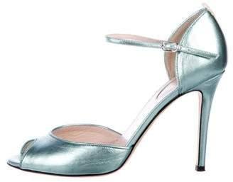 Sarah Jessica Parker Metallic Leather Peep-Toe Pumps