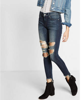 Express mid rise EXP tech distressed ankle jean legging $88 thestylecure.com