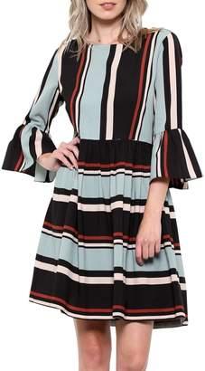 Elegance By Sarah Ruhs Striped Bell-Sleeve Dress